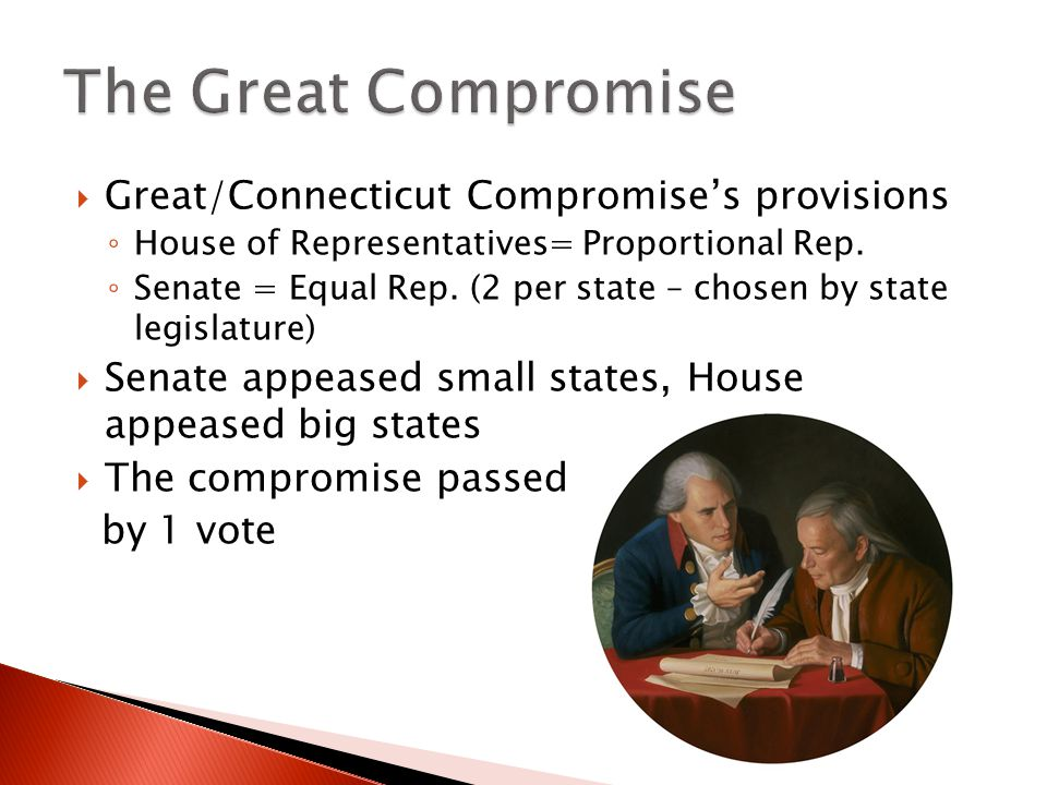 The Great Compromise Great/Connecticut Compromise's provisions
