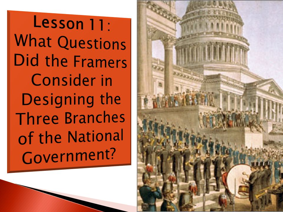 Lesson 11: What Questions Did the Framers Consider in Designing the Three Branches of the National Government