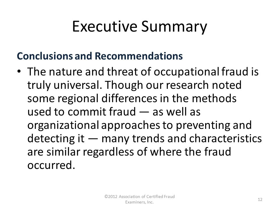 ©2012 Association of Certified Fraud Examiners, Inc.