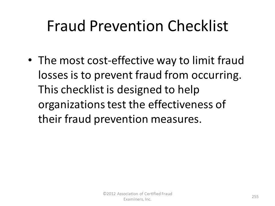 Fraud Prevention Checklist