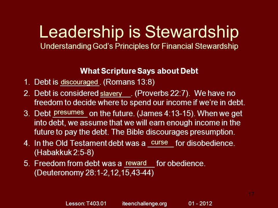 What Scripture Says about Debt