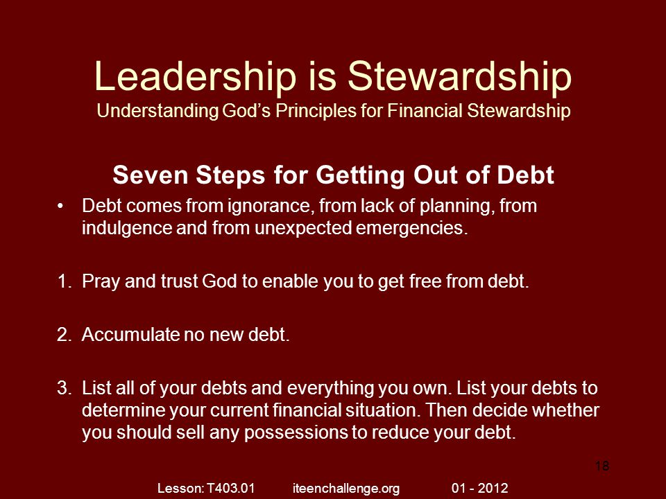 Seven Steps for Getting Out of Debt
