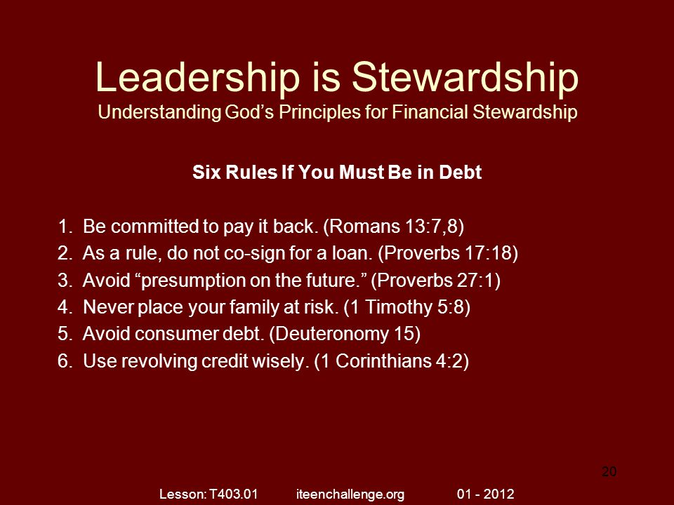 Six Rules If You Must Be in Debt
