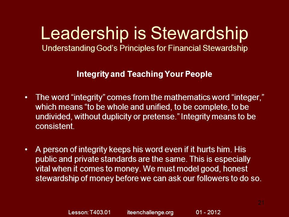 Integrity and Teaching Your People