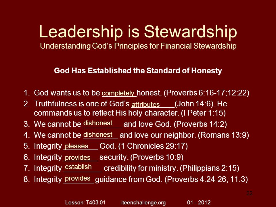 God Has Established the Standard of Honesty