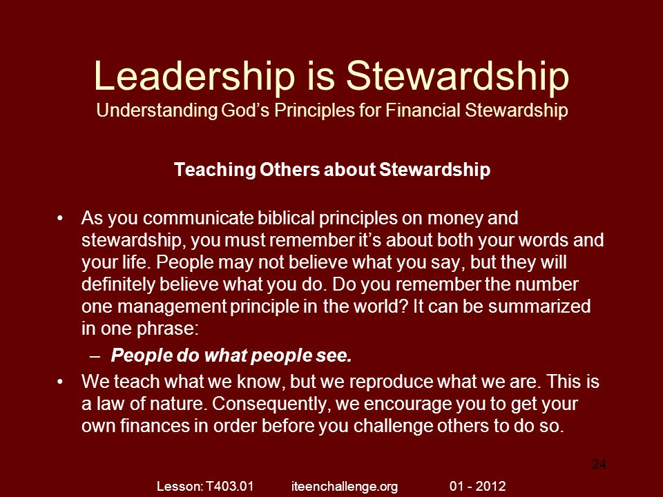 Teaching Others about Stewardship