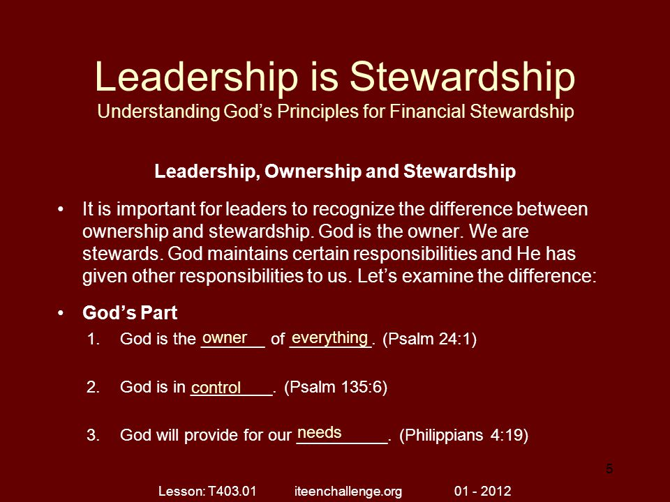 Leadership, Ownership and Stewardship