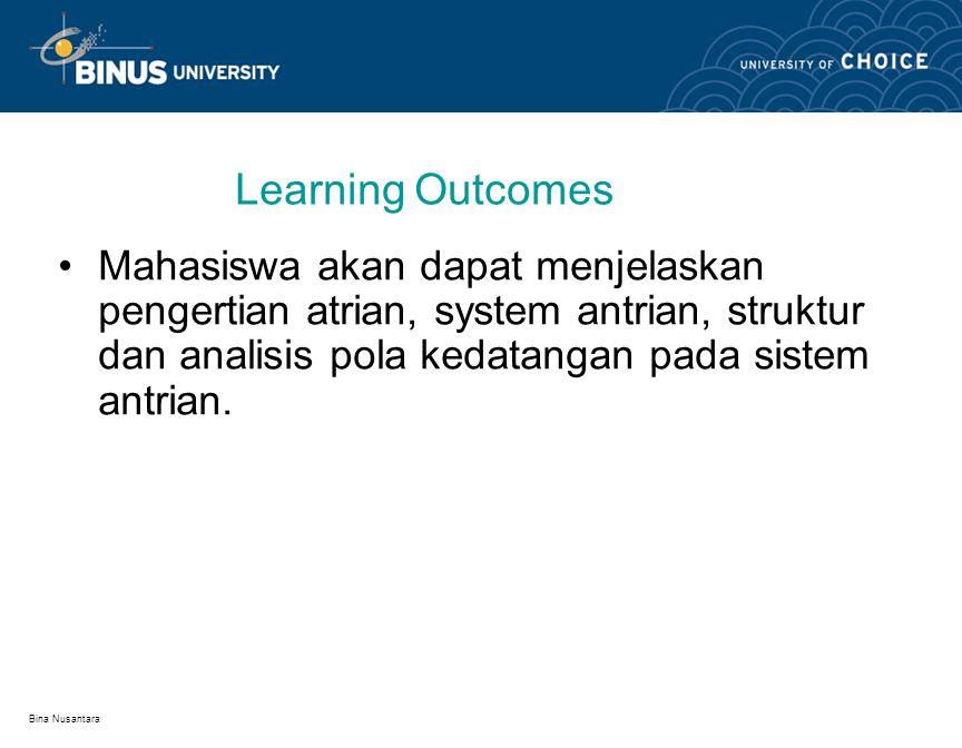 Learning Outcomes Mahasiswa akan dapat menjelaskan pengertian atrian, system antrian, struktur dan analisis pola kedatangan pada sistem antrian.