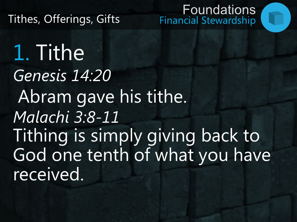 1. Tithe Abram gave his tithe.
