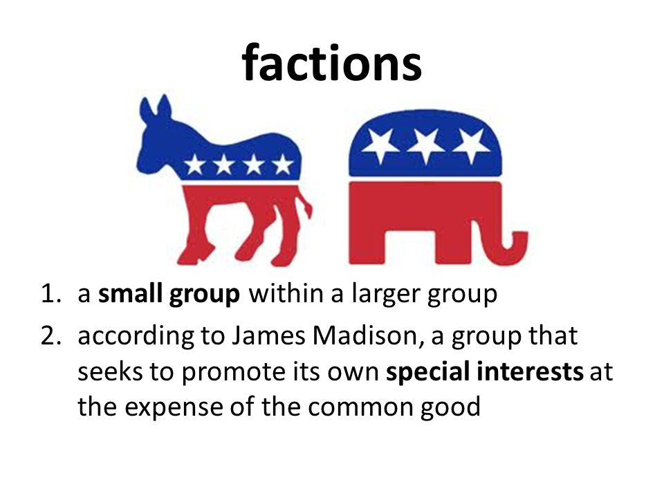 factions a small group within a larger group