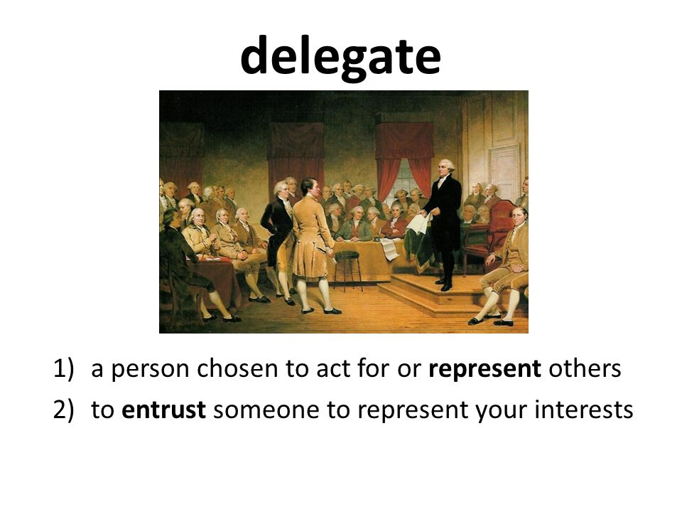 delegate a person chosen to act for or represent others
