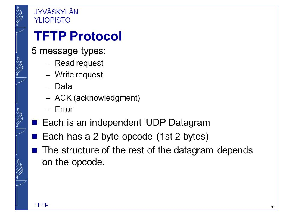 TFTP Protocol 5 message types: Each is an independent UDP Datagram