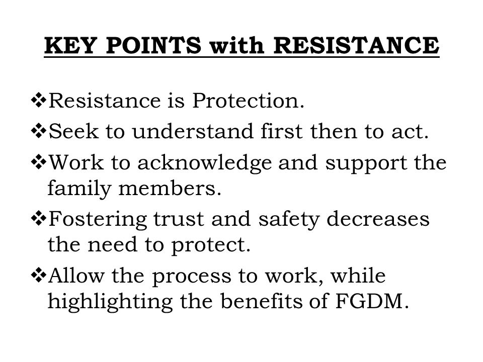 KEY POINTS with RESISTANCE