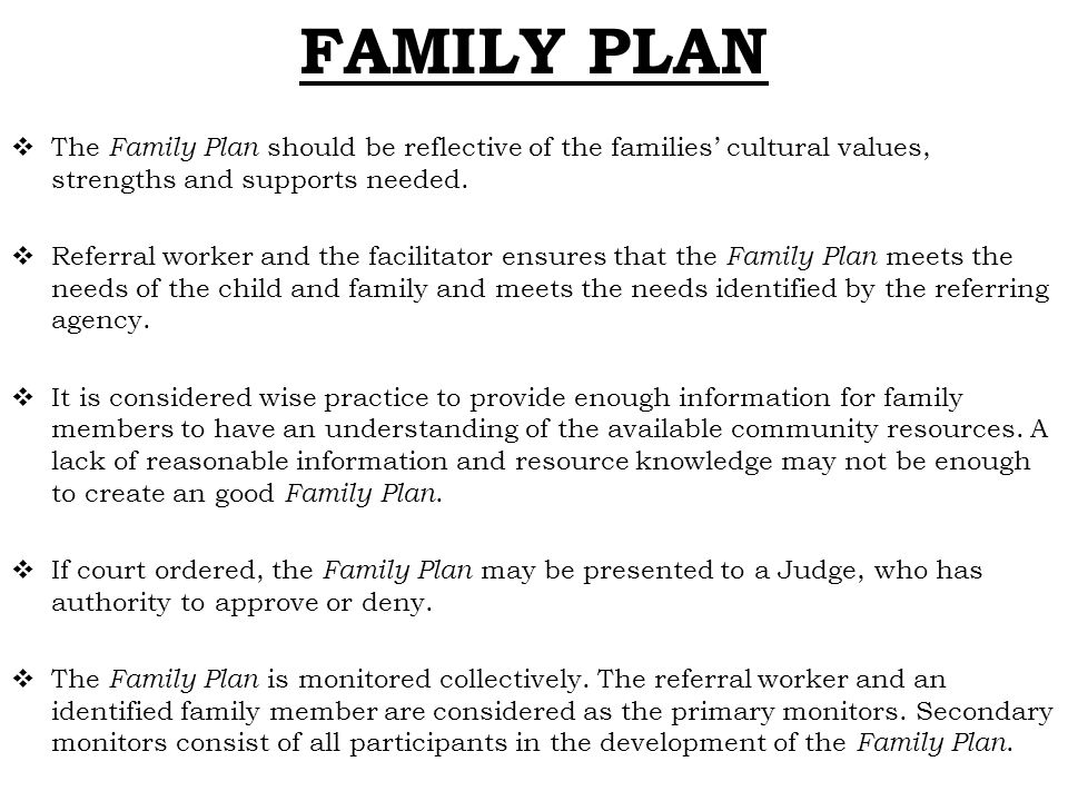 FAMILY PLAN The Family Plan should be reflective of the families' cultural values, strengths and supports needed.