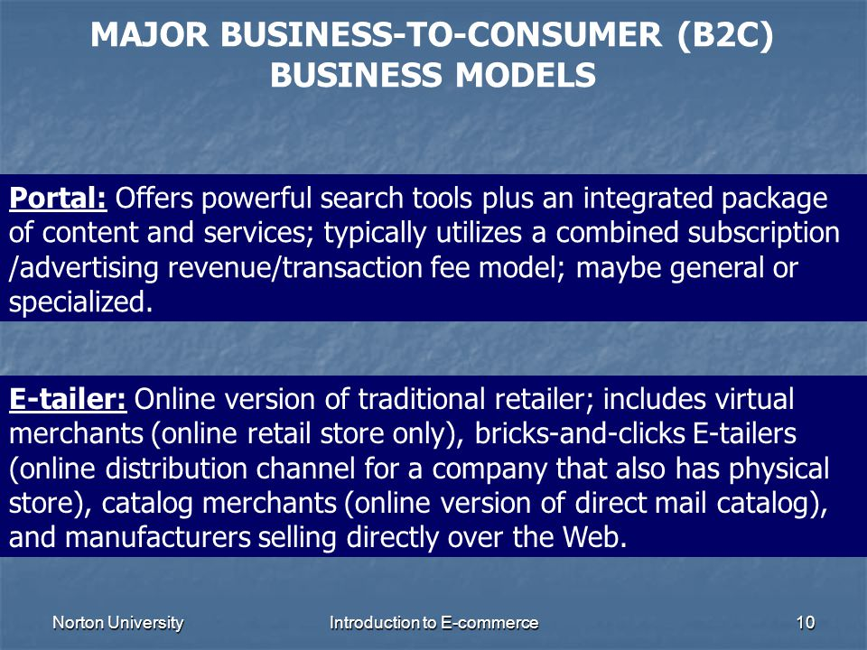 MAJOR BUSINESS-TO-CONSUMER (B2C) BUSINESS MODELS