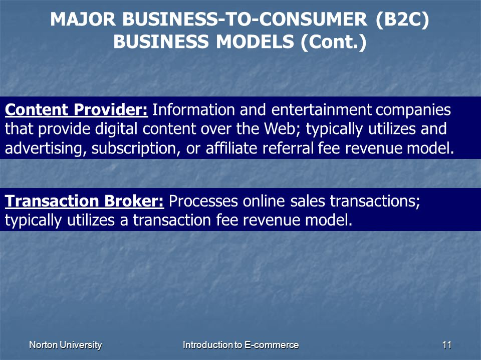 MAJOR BUSINESS-TO-CONSUMER (B2C) BUSINESS MODELS (Cont.)