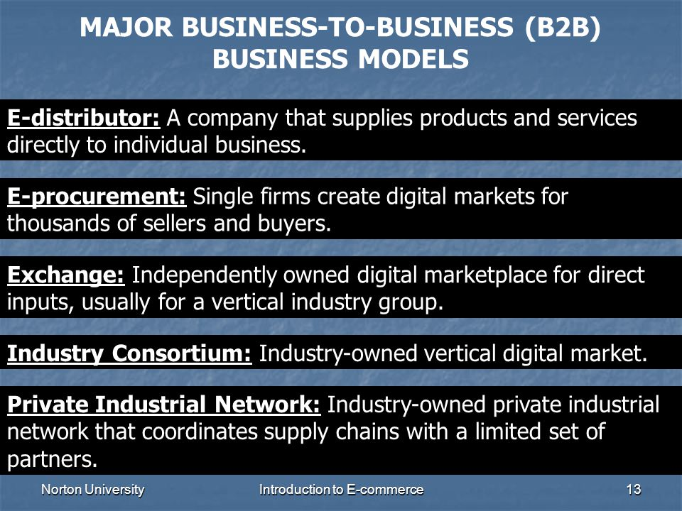 MAJOR BUSINESS-TO-BUSINESS (B2B) BUSINESS MODELS