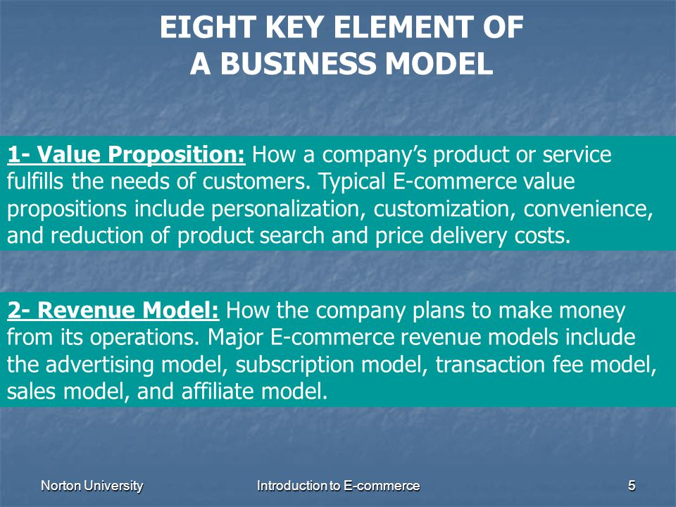 EIGHT KEY ELEMENT OF A BUSINESS MODEL