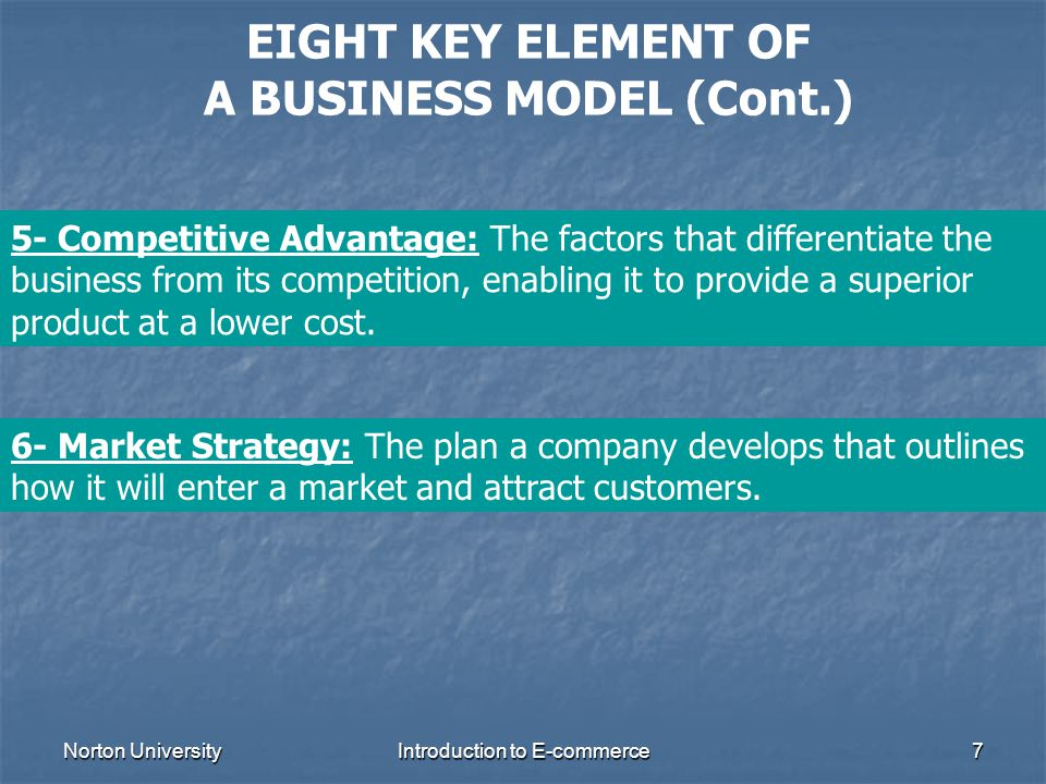 EIGHT KEY ELEMENT OF A BUSINESS MODEL (Cont.)