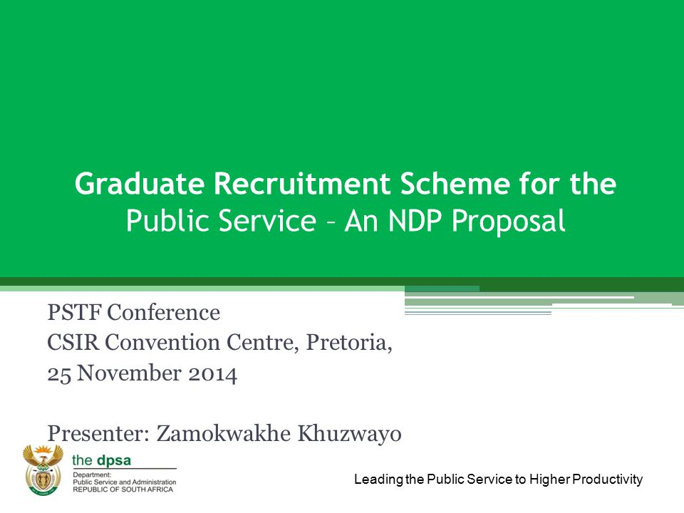 Graduate Recruitment Scheme for the Public Service – An NDP Proposal