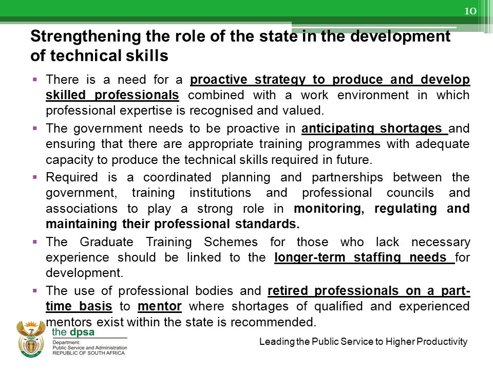 Strengthening the role of the state in the development of technical skills