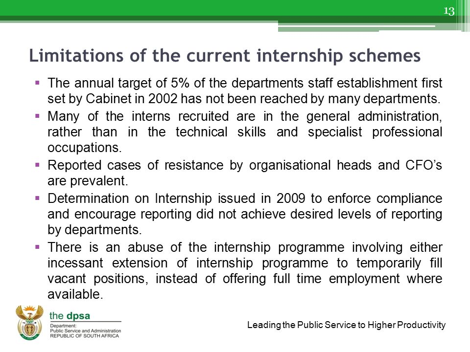 Limitations of the current internship schemes