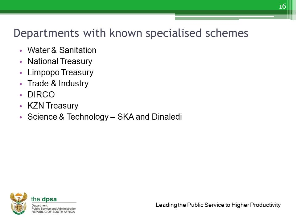 Departments with known specialised schemes