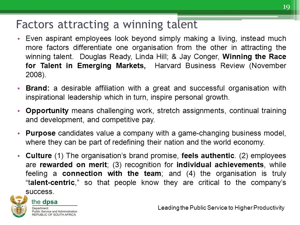 Factors attracting a winning talent