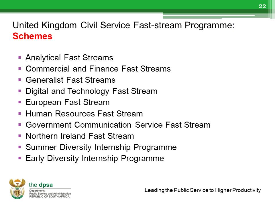 United Kingdom Civil Service Fast-stream Programme: Schemes