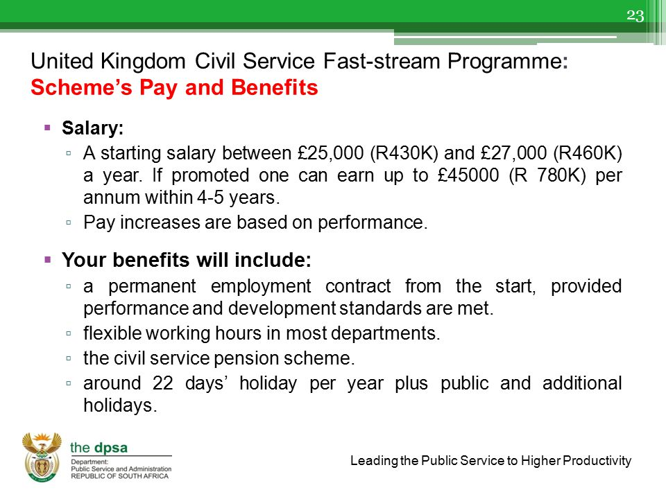United Kingdom Civil Service Fast-stream Programme: Scheme's Pay and Benefits