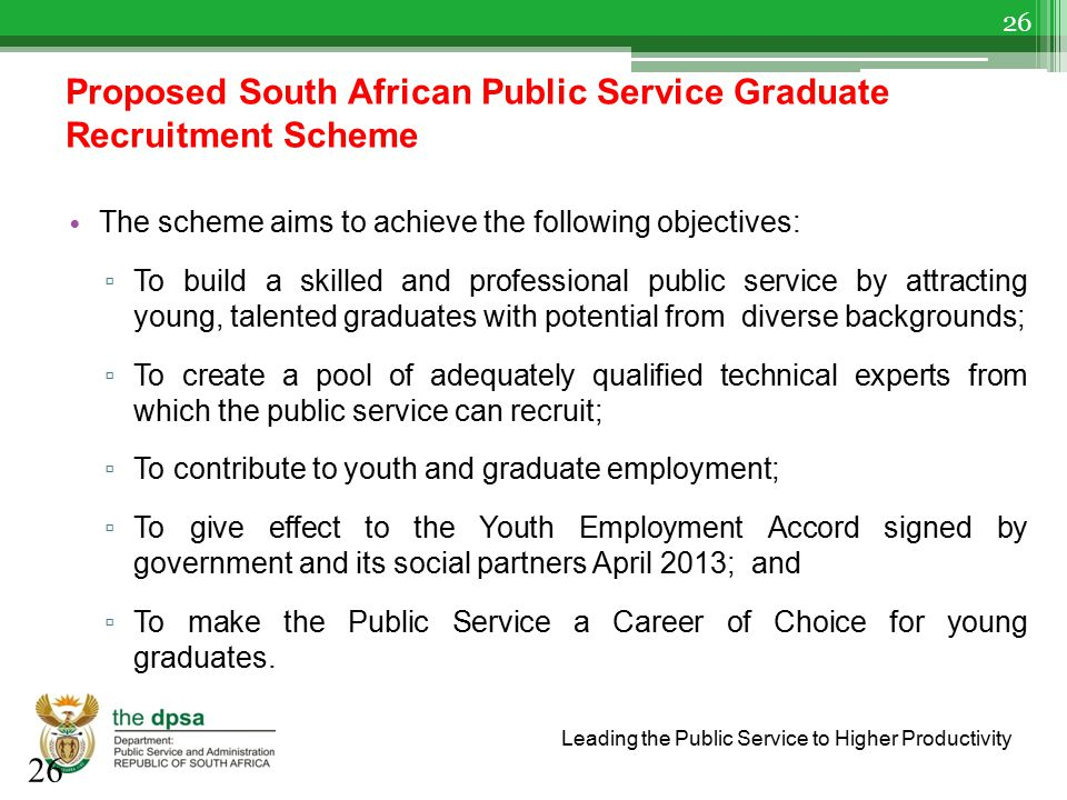 Proposed South African Public Service Graduate Recruitment Scheme