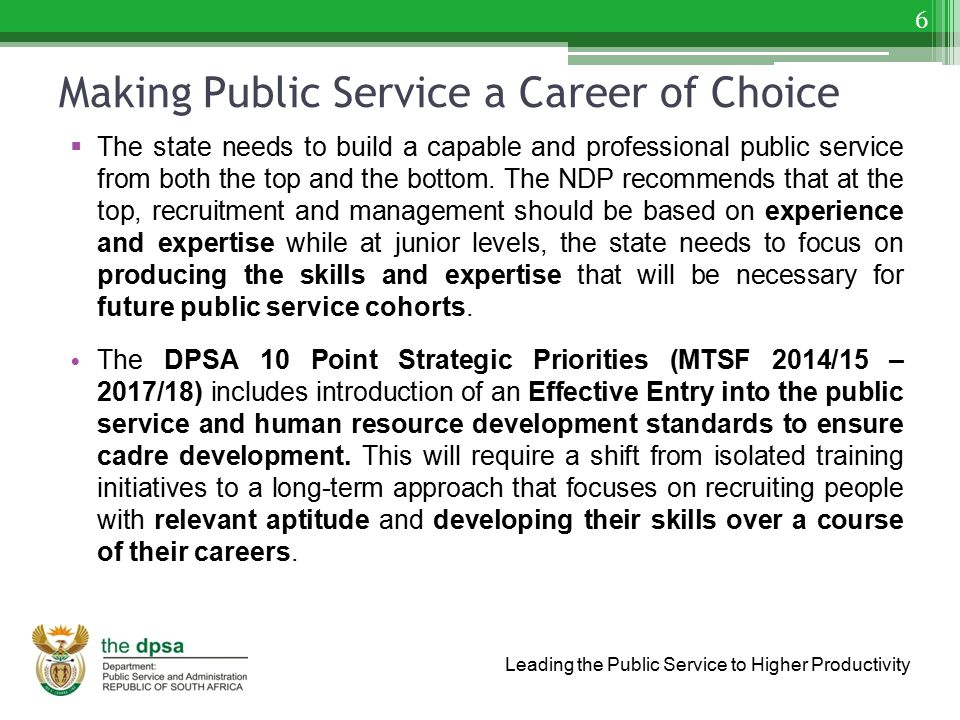 Making Public Service a Career of Choice