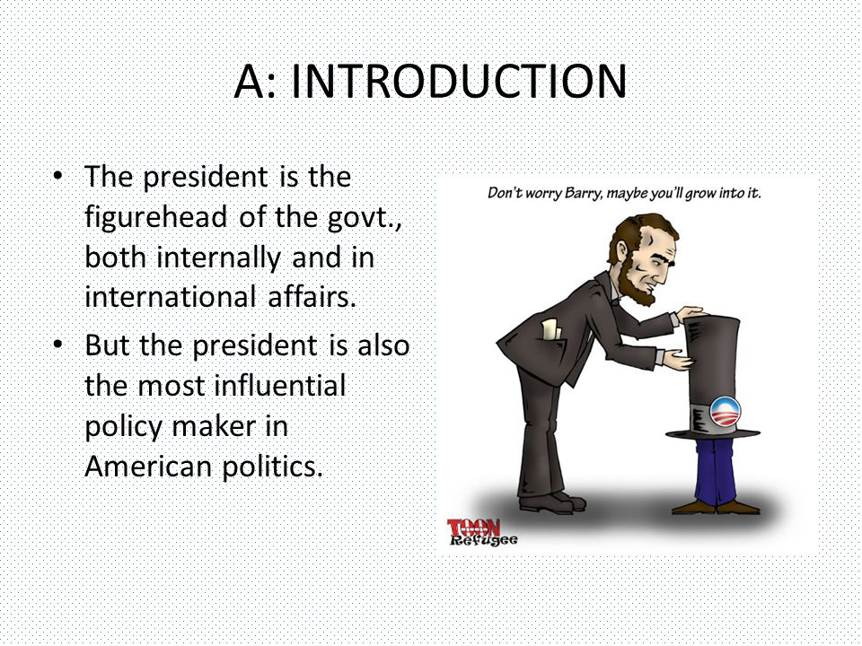 A: INTRODUCTION The president is the figurehead of the govt., both internally and in international affairs.