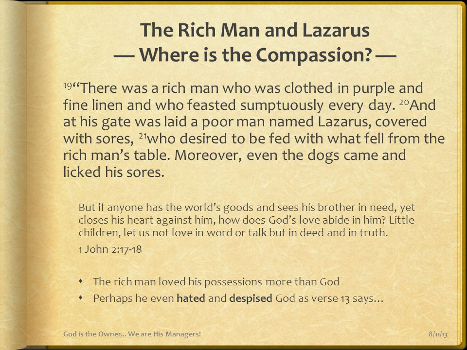 The Rich Man and Lazarus — Where is the Compassion —