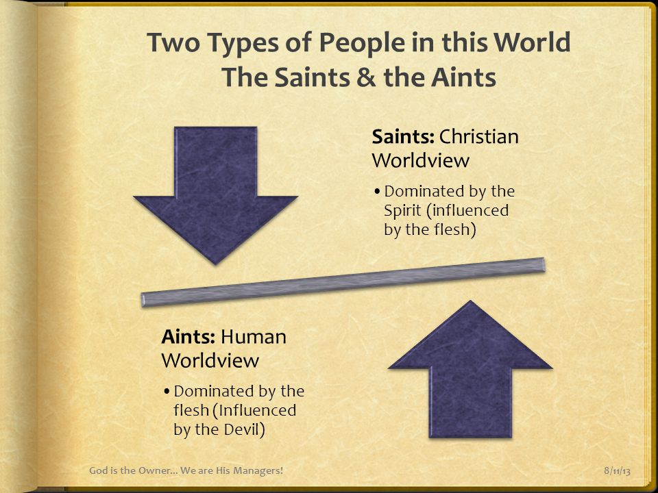 Two Types of People in this World The Saints & the Aints