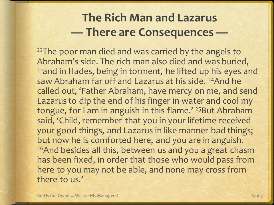 The Rich Man and Lazarus — There are Consequences —
