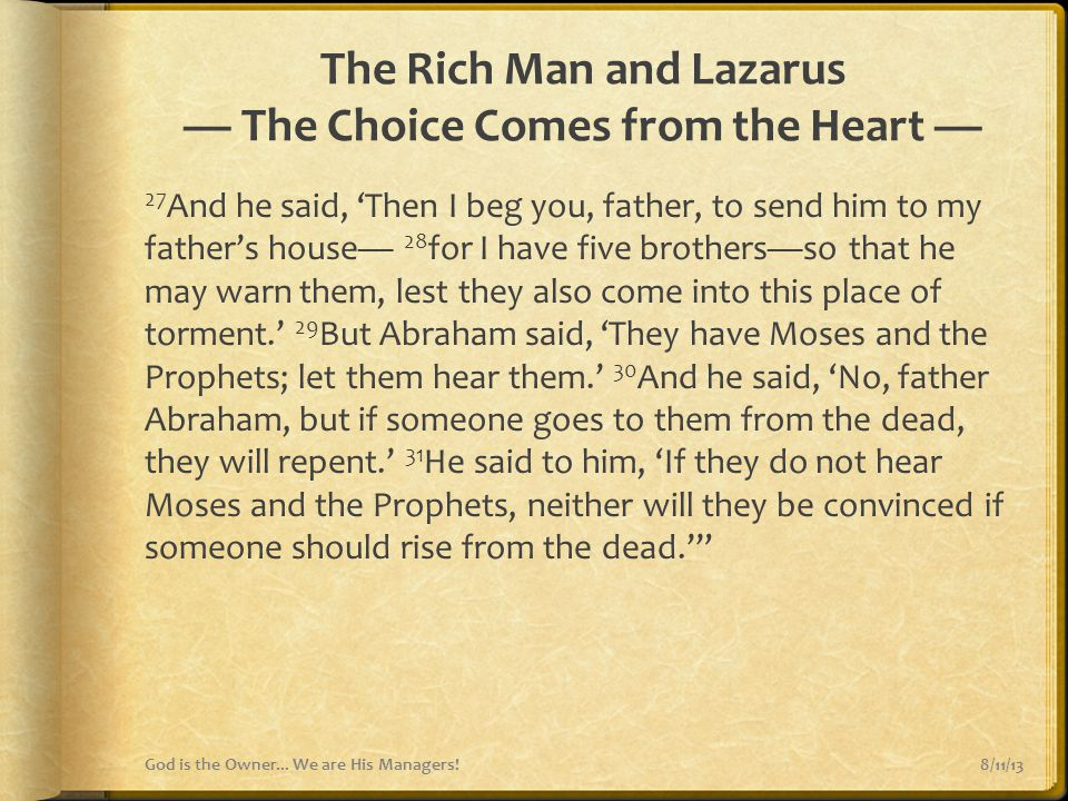 The Rich Man and Lazarus — The Choice Comes from the Heart —