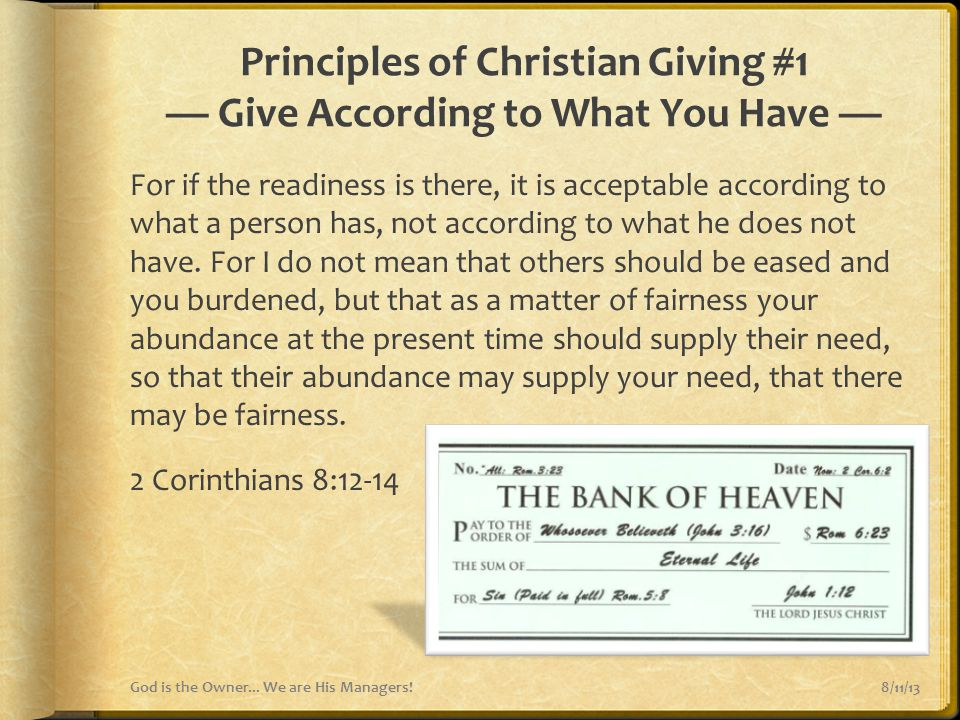 Principles of Christian Giving #1 — Give According to What You Have —