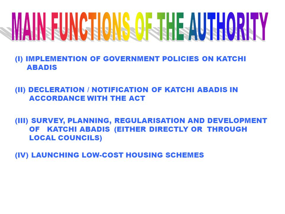 MAIN FUNCTIONS OF THE AUTHORITY