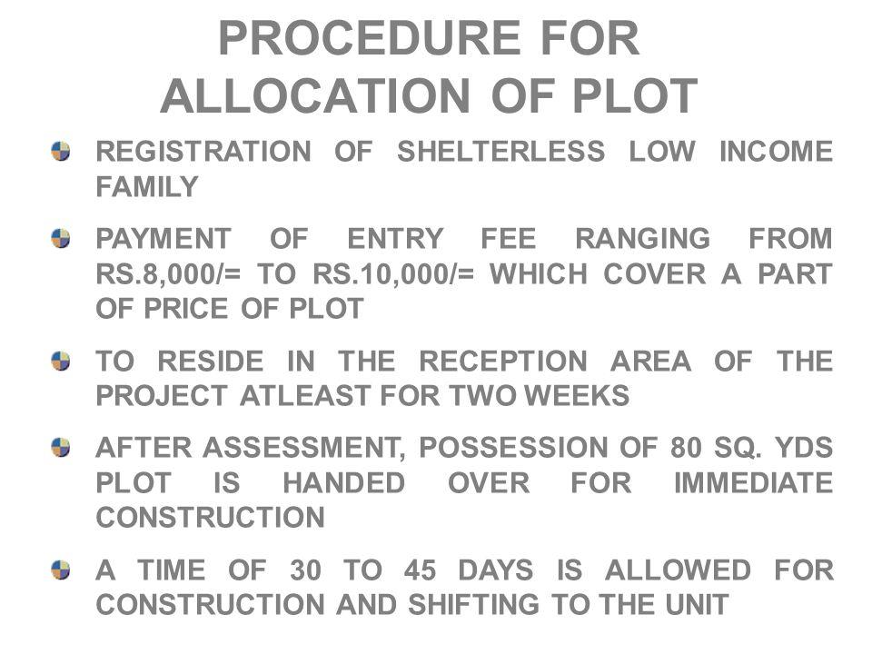 PROCEDURE FOR ALLOCATION OF PLOT