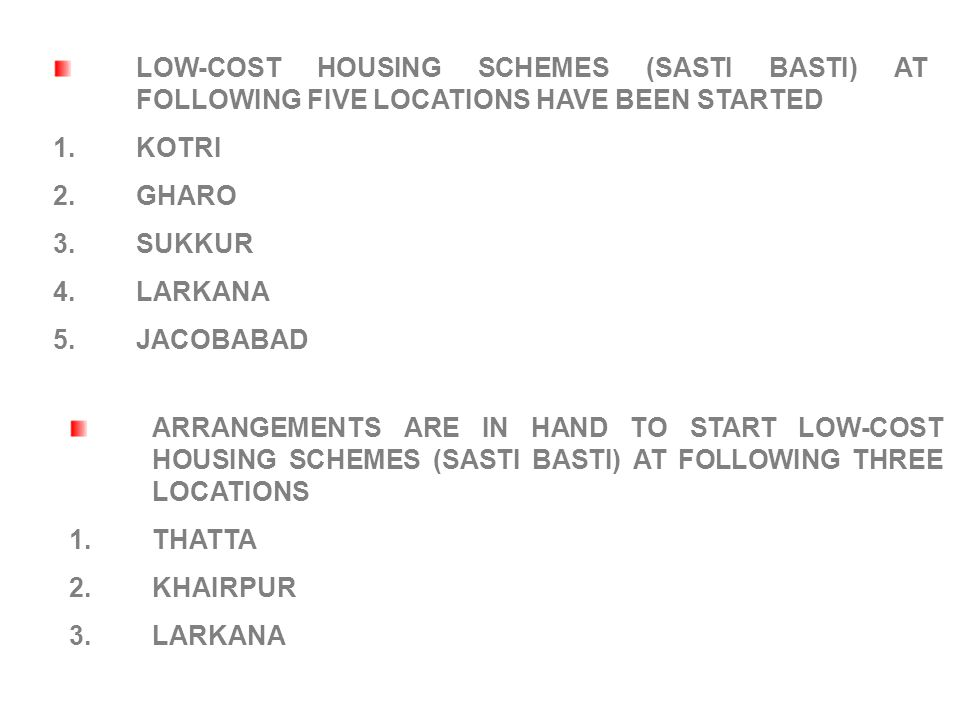 LOW-COST HOUSING SCHEMES (SASTI BASTI) AT FOLLOWING FIVE LOCATIONS HAVE BEEN STARTED