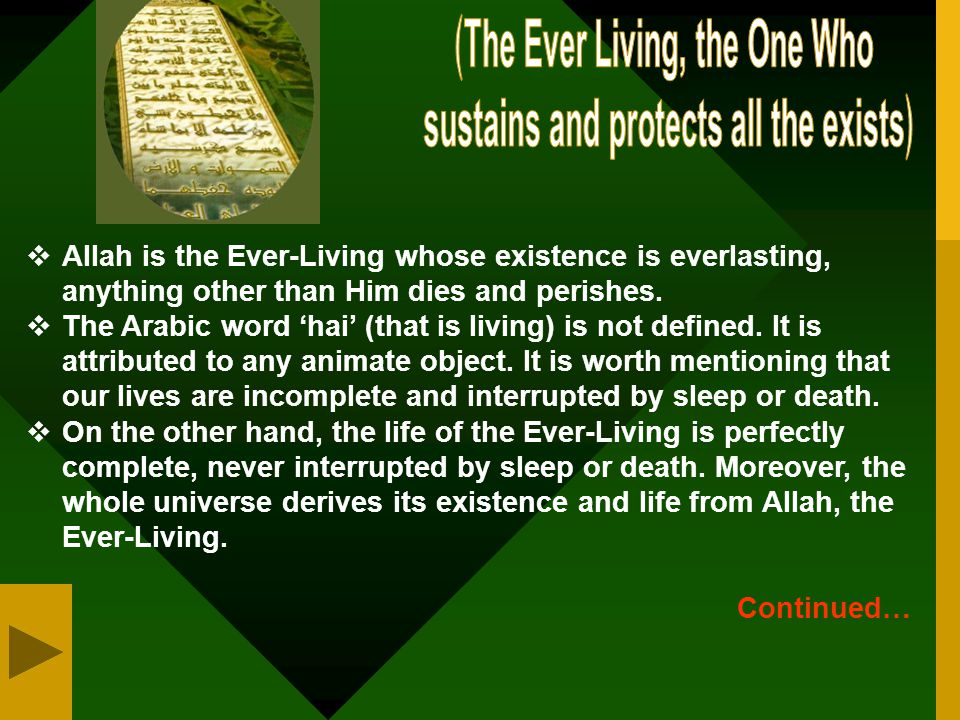 ﴾The Ever Living, the One Who sustains and protects all the exists﴿