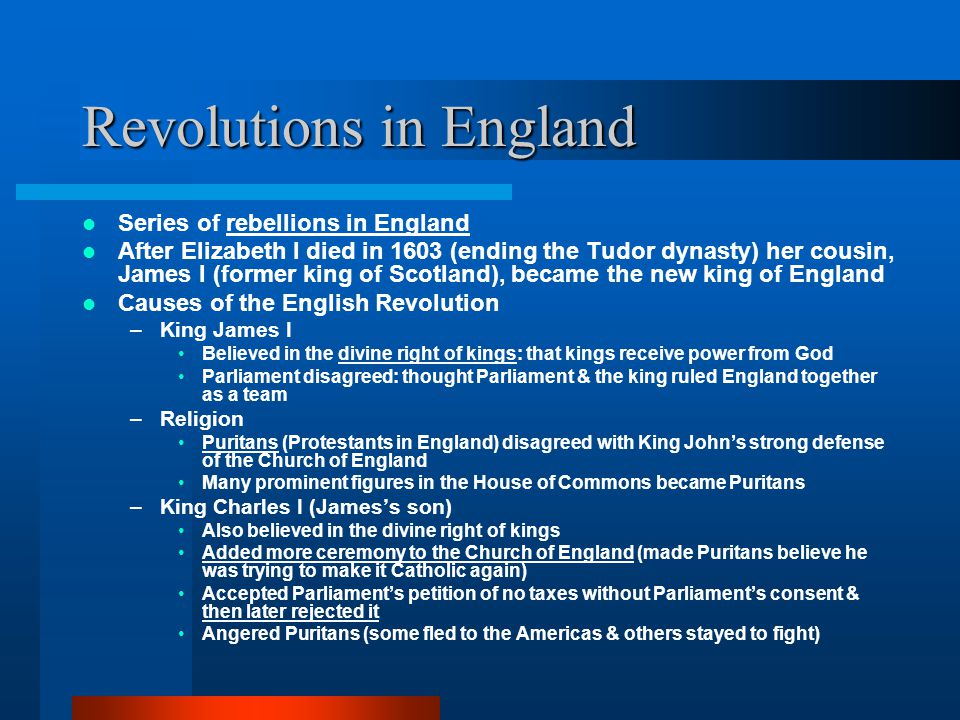 Revolutions in England
