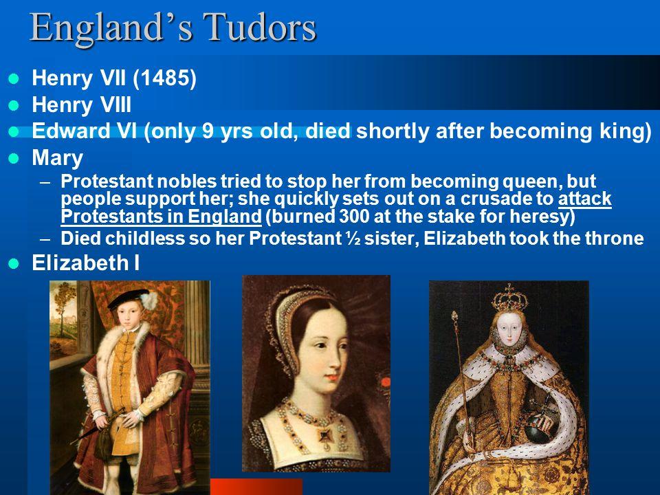 England's Tudors Henry VII (1485) Henry VIII
