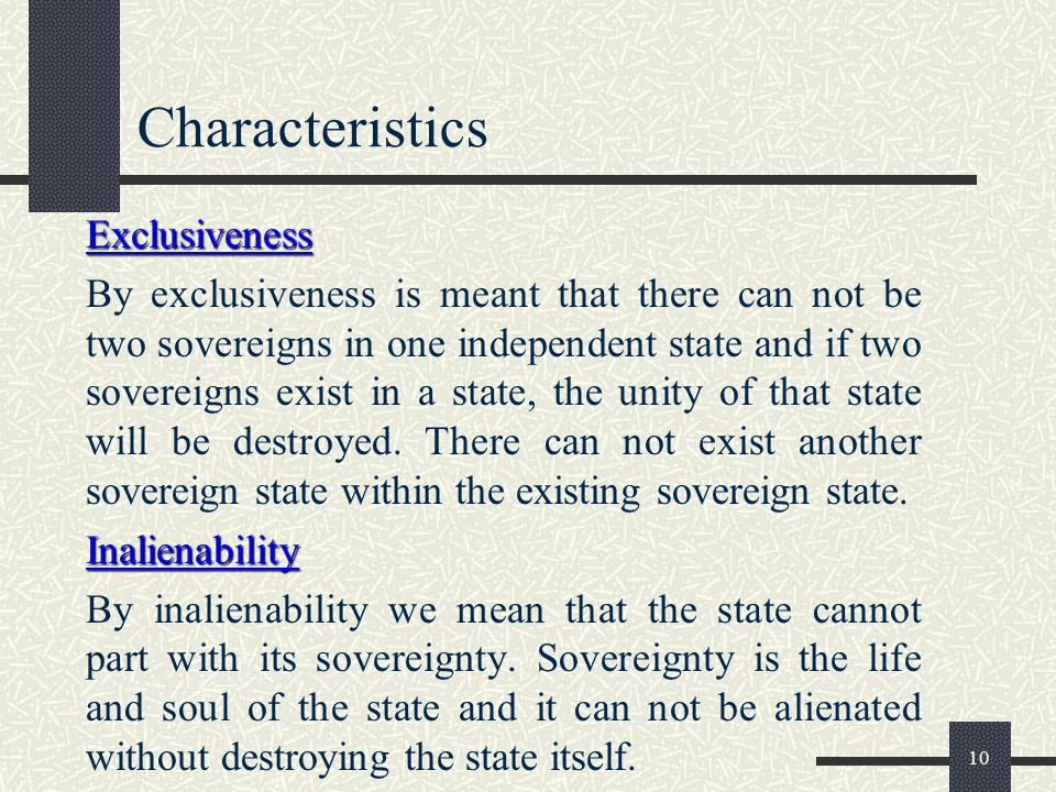 Characteristics Exclusiveness