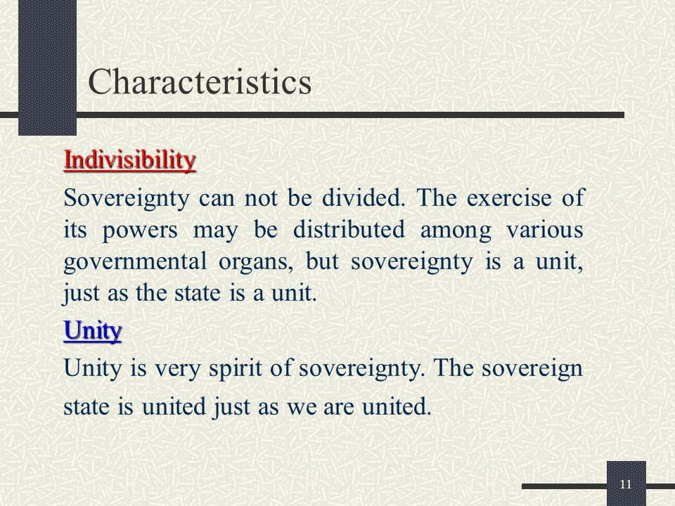 Characteristics Indivisibility