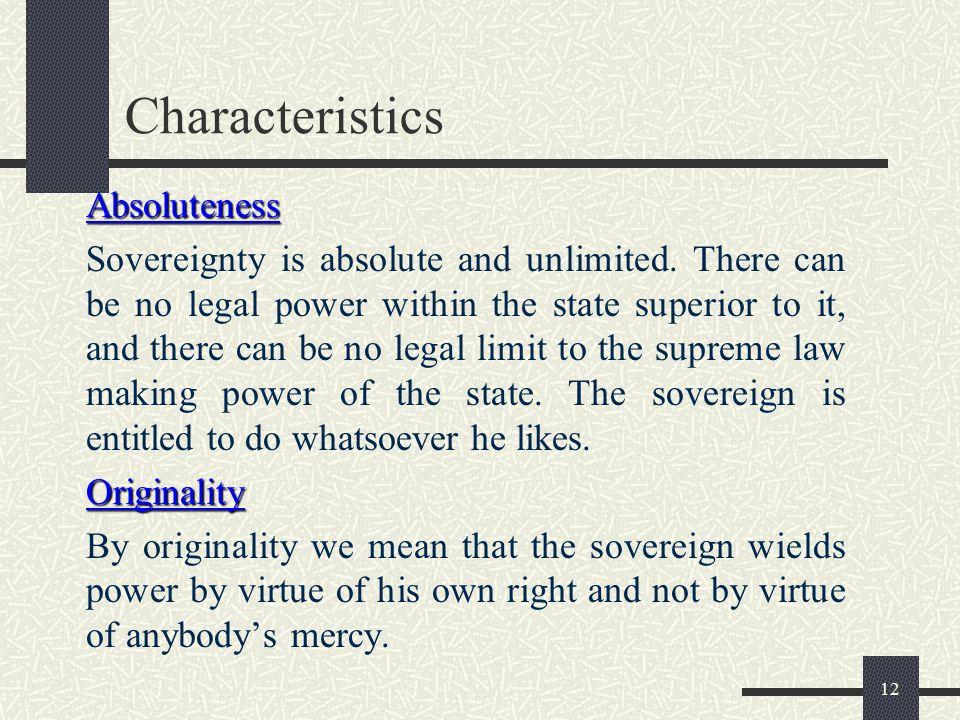 Characteristics Absoluteness