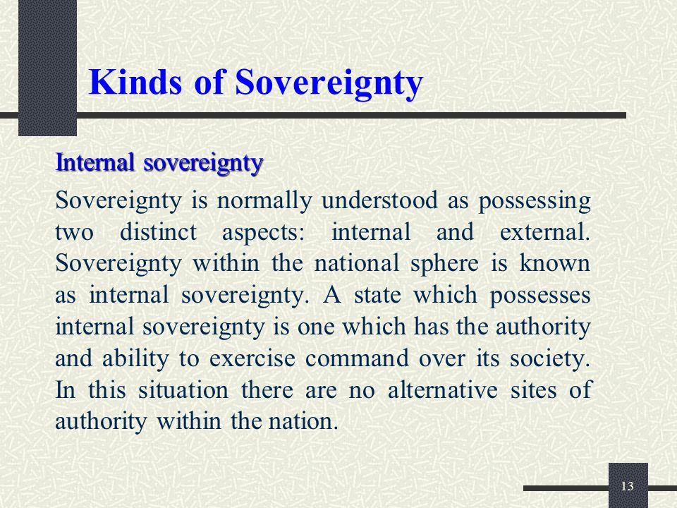 Kinds of Sovereignty Internal sovereignty