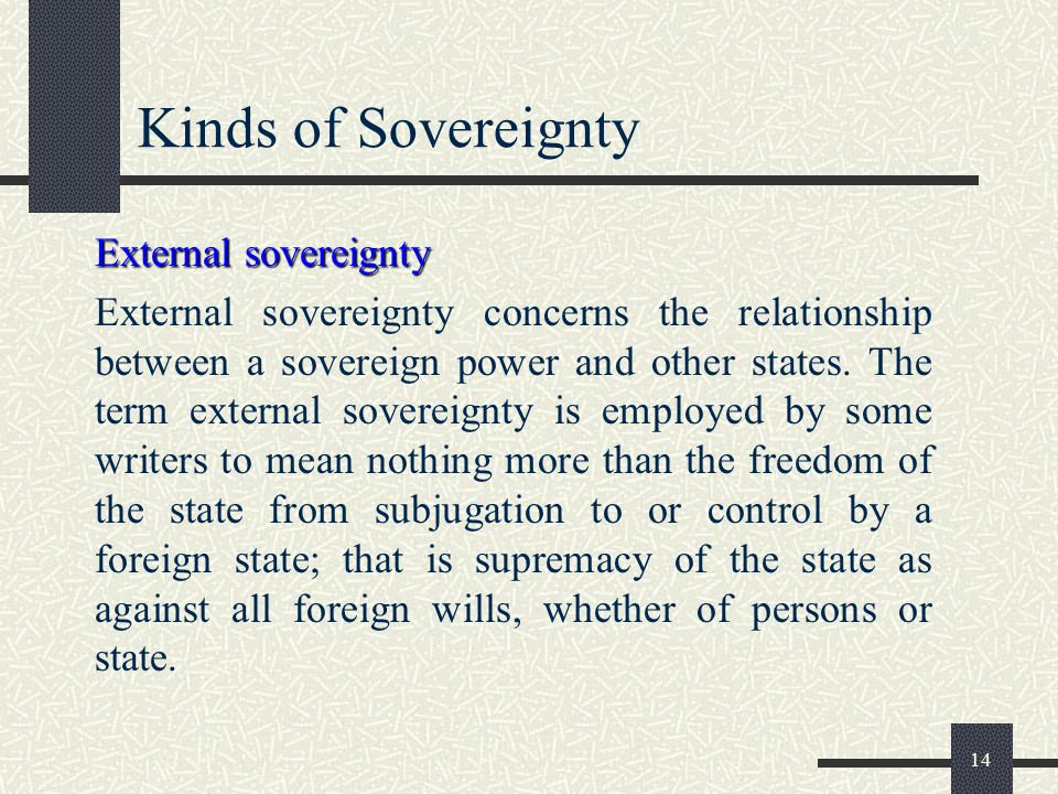 Kinds of Sovereignty External sovereignty