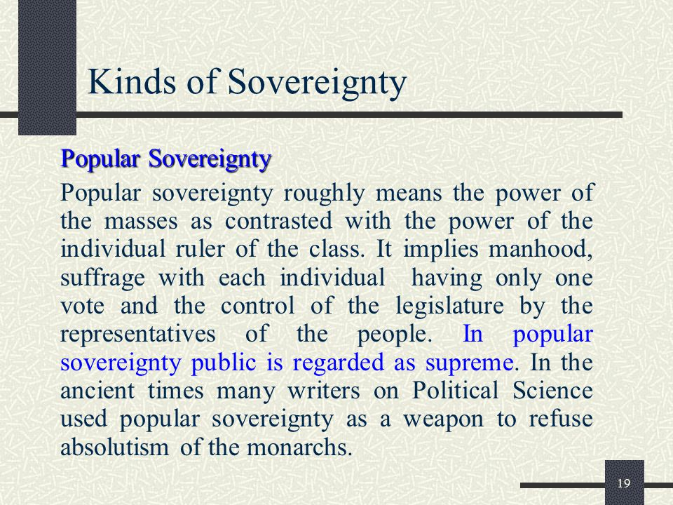 Kinds of Sovereignty Popular Sovereignty